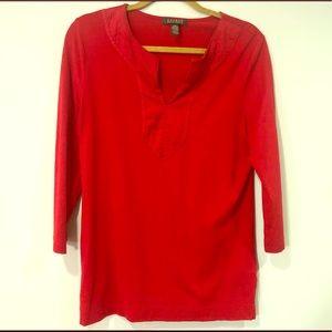 Lauren Ralph Lauren Red Linen Tunic Top